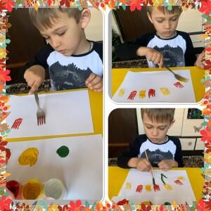 Ещё Дима нарисовал волшебную полянку с тюльпанами используя видео мастер класс которое посмотрел на нашем сайте.